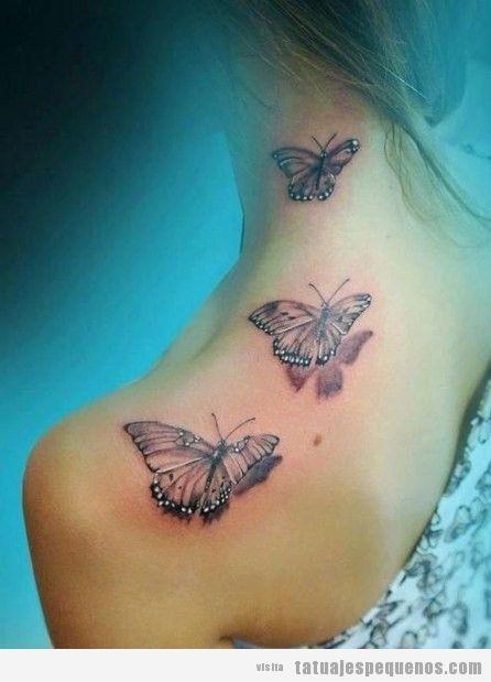Tatuaje pequeño mediano para chica, tatuaje de mariposas en hombro y cuello