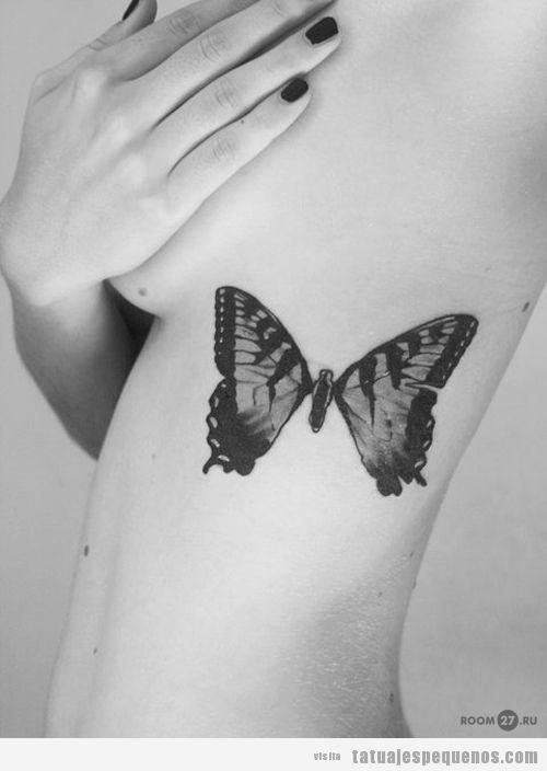 Idea tatuaje pequeño chica en el costado, mariposa