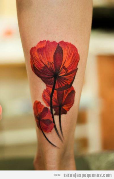 Tattoo pequeño bonito para chica, amapoolas