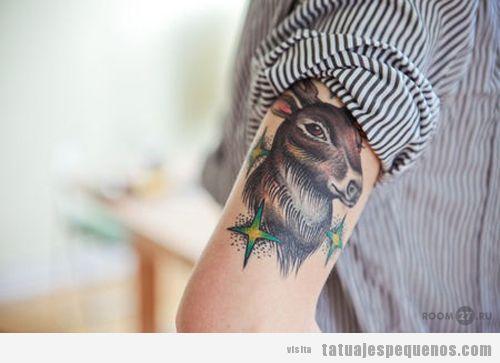 Tattoo de un ciervo a color en el brazo para chico y chicas