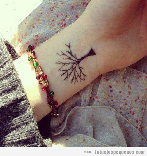 Tattoo pequeño y bonito de un árbol en la muñeca