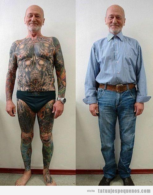 No sabes cómo se verá tu cuerpo lleno de tatuajes cuando seas un señor mayor? Pues mira!