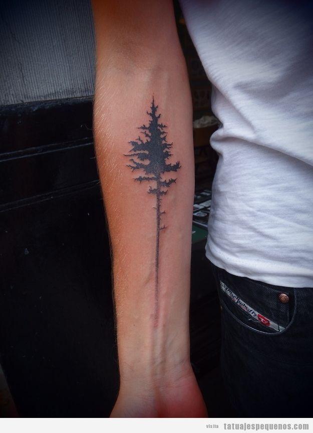 Tatuaje pequeño para chicos, árbol en el antebrazo