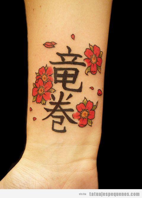 Tatuaje en la muñeca pequeño flores y frase japonés