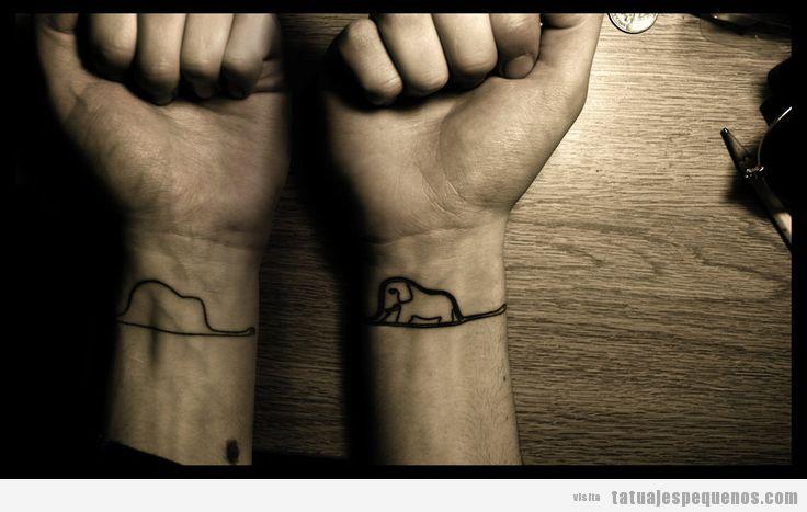 Tatuaje pequeño para hombres, sombrero o Elefante de El Principito