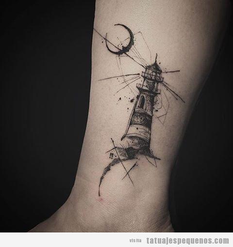 Tatuaje pequeño, artístico y misterioso para hombre y mujer: un faro y la luna
