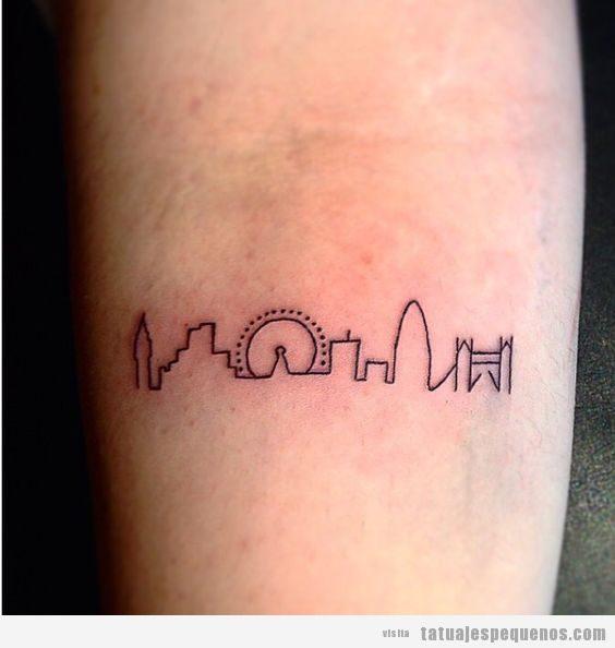 Tatuaje pequeño skyline Londres en antebrazo 2