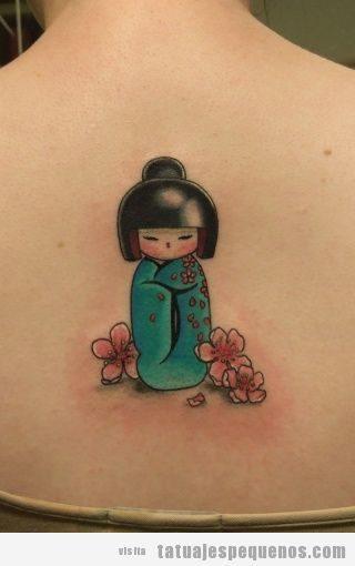 Tatuajes pequeños muñecas kokeshi dolls para mujer