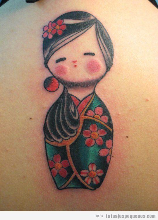 Tatuajes pequeños muñecas kokeshi dolls para mujer 2
