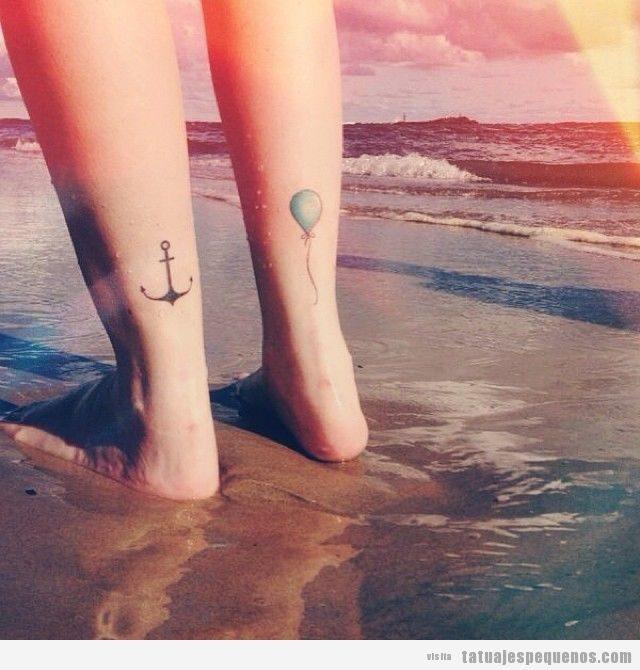 Tatuajes pequeños globo para mujer y hombre en tobillo 2