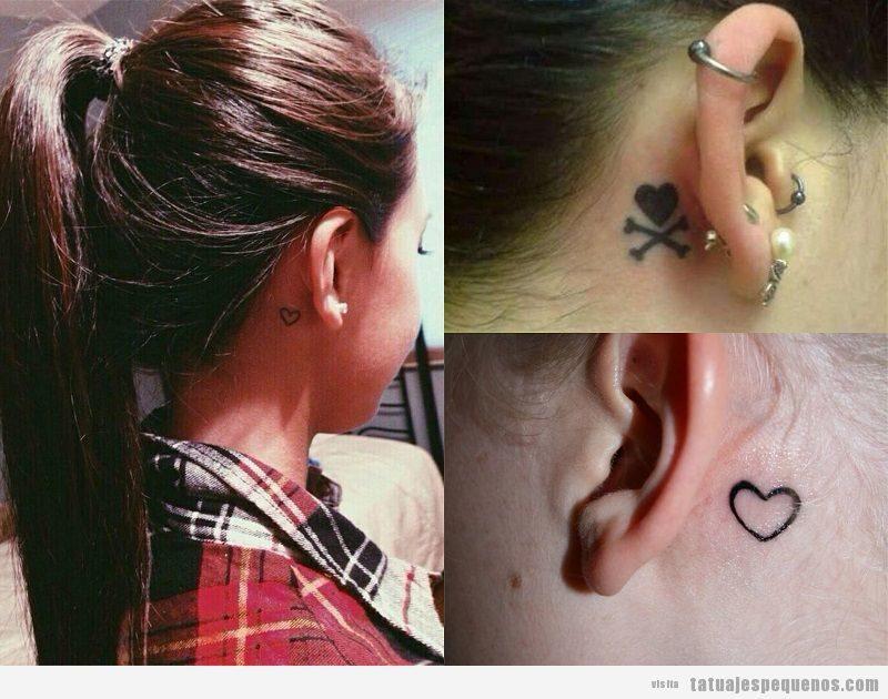 Tatuajes pequeños de corazones detrás de la oreja