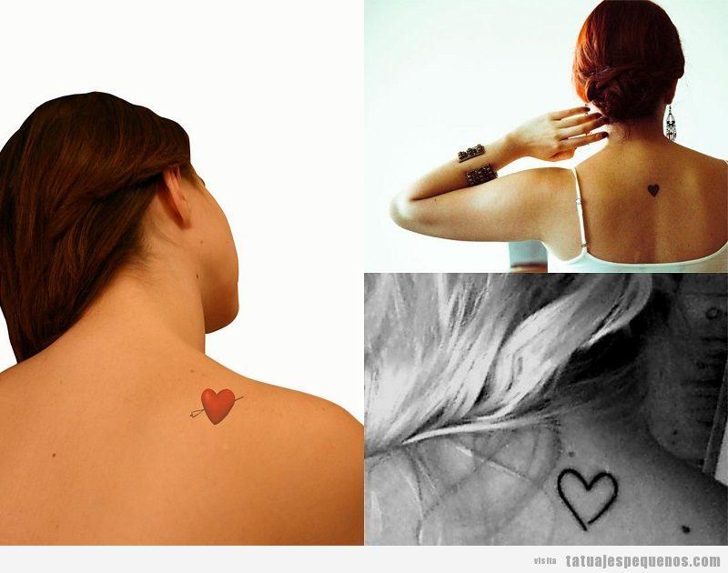 Tatuajes pequeños de corazones en la espalda