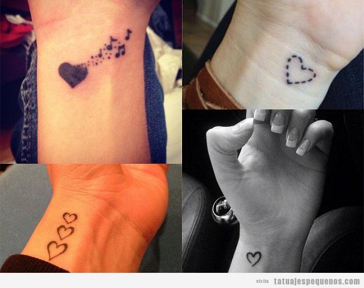 Tatuajes pequeños de corazones en la muñeca