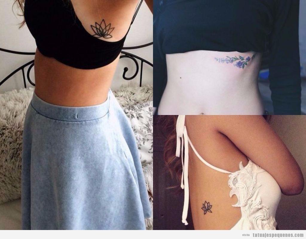 Tatuajes pequeños en el costado o costillas, flores bonitas