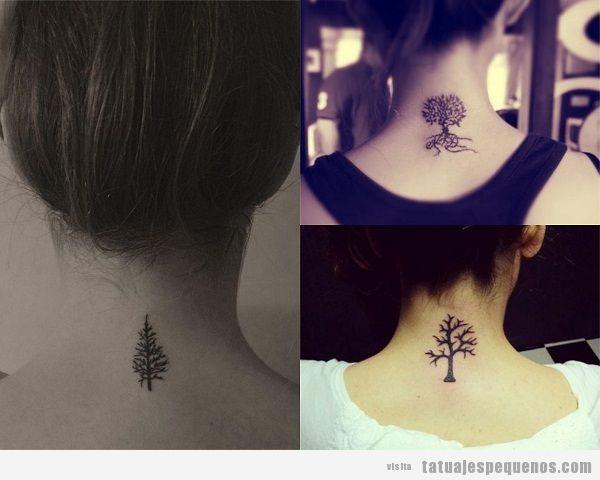 Tatuajes pequeños en la nuca de árboles