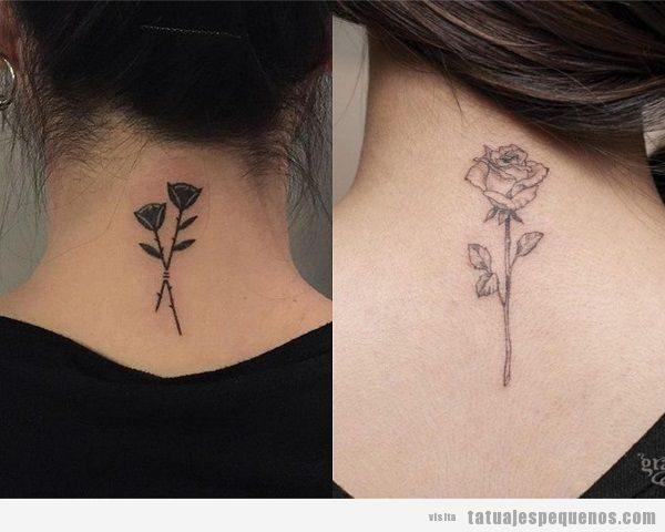 Tatuajes pequeños en la nuca, rosas