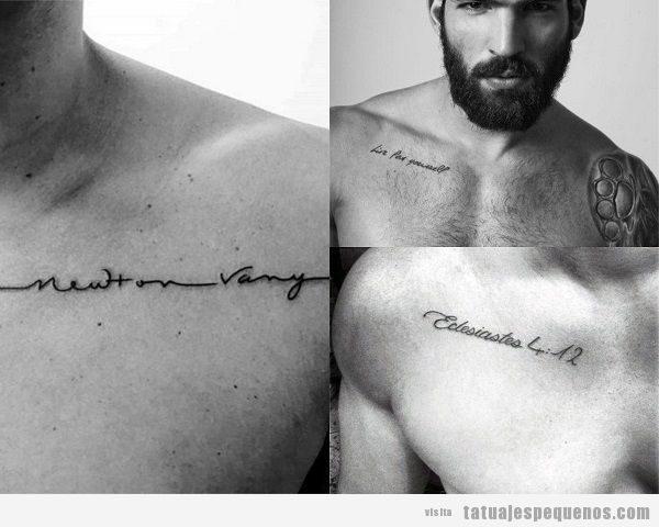 Tatuajes de frases en el pectoral