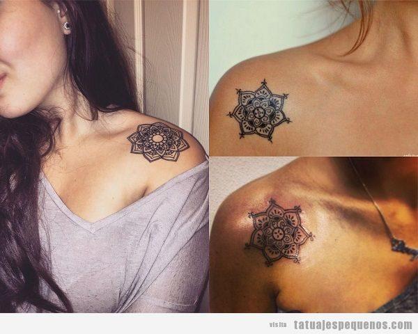 Tatuajes pequeños en el hombro mandalas