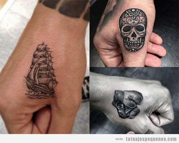 Tatuajes pequeños en la mano para hombre