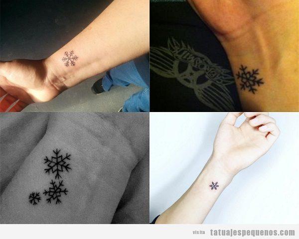 Tatuajes pequeños en la muñeca para mujer, copos de nieve