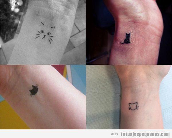 Tatuajes pequeños en la muñeca para mujer, gatos