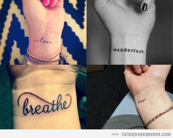 Tatuajes pequeños de palabras en la muñec