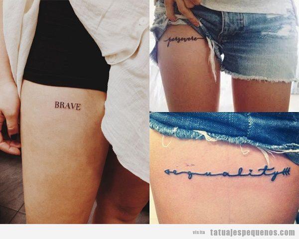 Tatuajes pequeños de palabras en el muslo
