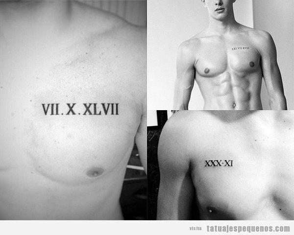 Tatuajes pequeños en el pecho para hombres de números romanos