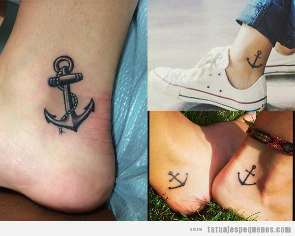 Tatuajes pequeños en el tobillo, anclas