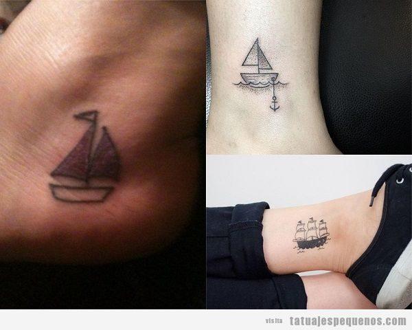 Tatuajes pequeños en el tobillo, barcos de vela