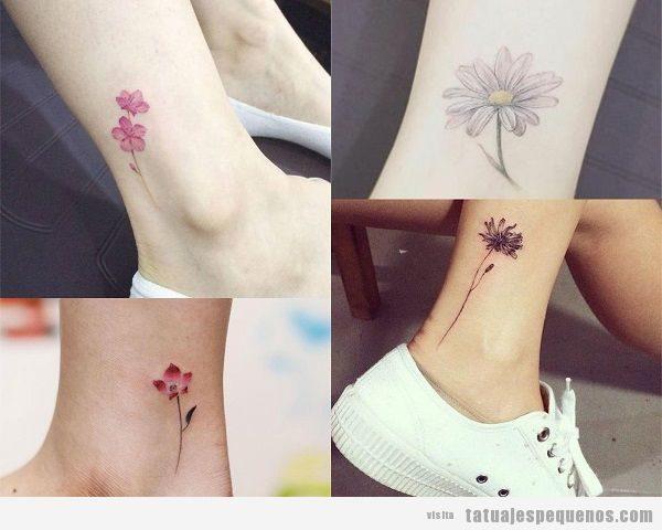 Tatuajes pequeños en el tobillo de flores