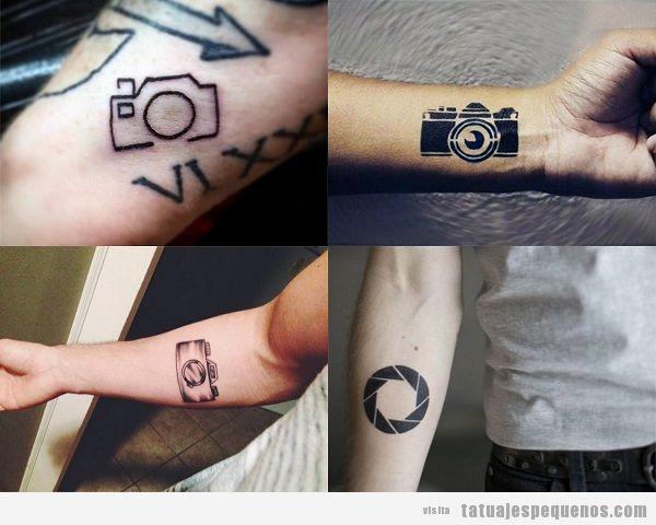Tatuajes pequeños en el antebrazo para hombres con cámaras