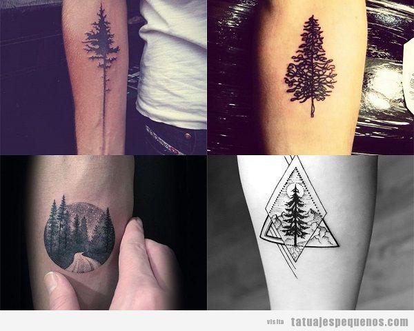 Tatuajes pequeños en el antebrazo para hombres con árboles