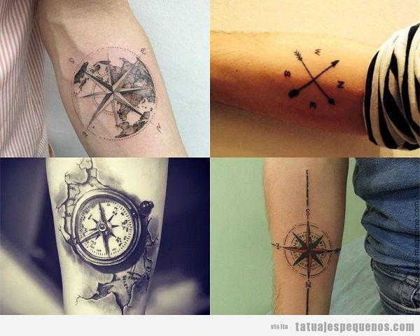 Tatuajes pequeños en el antebrazo para hombres con brújula