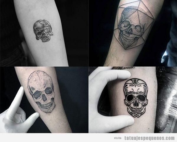 Tatuajes pequeños en el antebrazo para hombres con calaveras