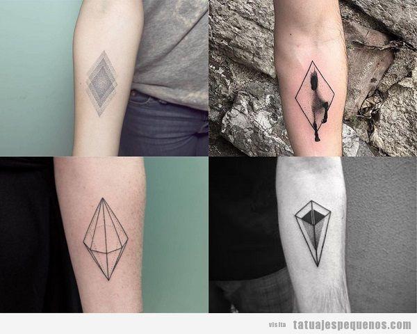 Tatuajes pequeños en el antebrazo para hombres con rombos