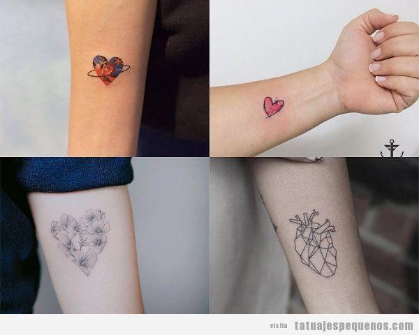 Tatuajes pequeños en el antebrazo para mujer corazones