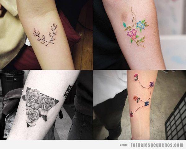 Tatuajes pequeños en el antebrazo para mujer flores