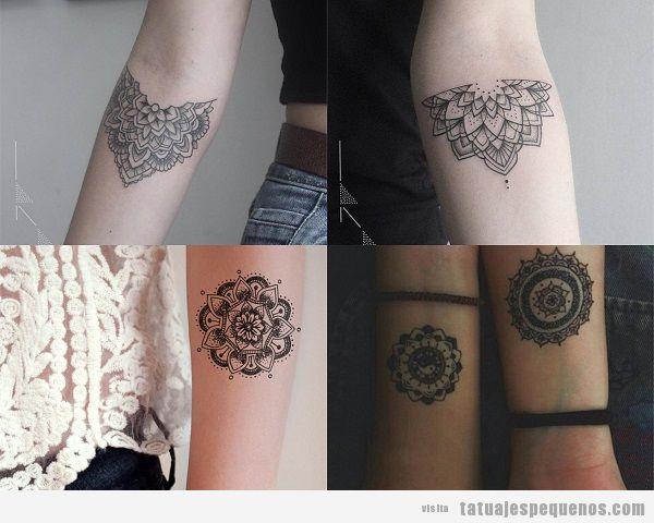 Tatuajes pequeños en el antebrazo para mujer mandalas