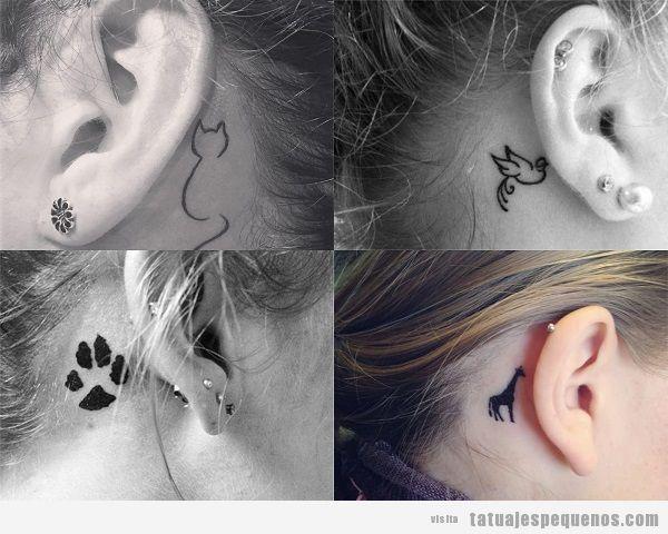 Tatuajes detrás de la oreja para mujer con animales
