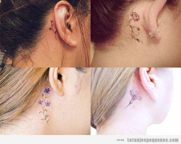 Tatuajes detrás de la oreja para mujer con flores