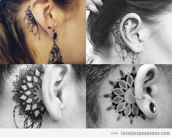 Tatuajes detrás de la oreja para mujer con mandalas