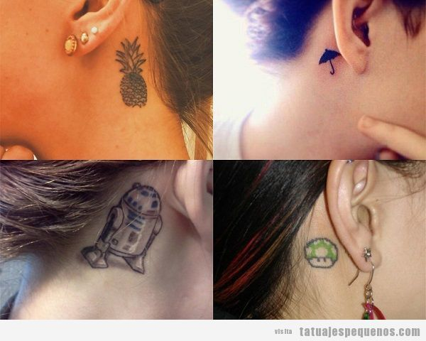 Tatuajes detrás de la oreja para mujer originales