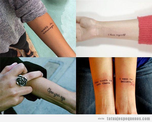 Tatuajes pequeños de frases en el antebrazo