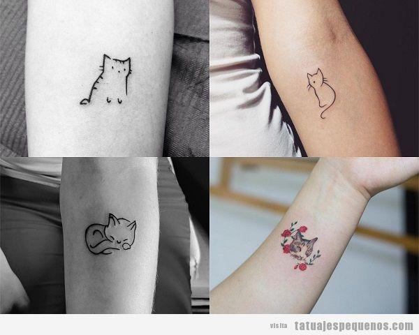 Tatuajes pequeños de gatos en el antebrazo