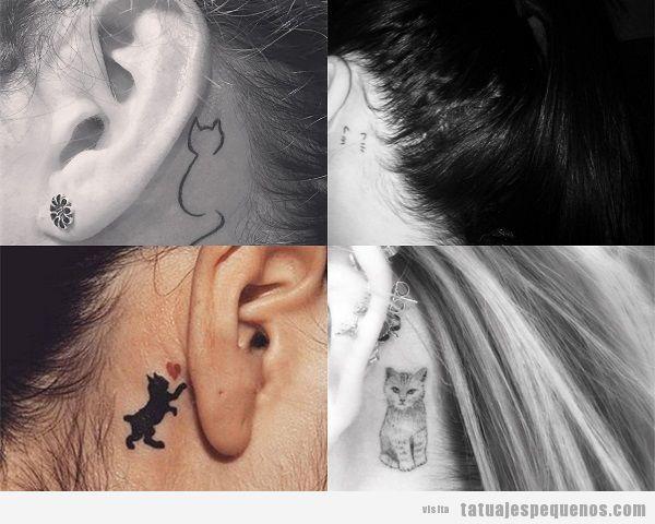 Tatuajes pequeños de gatos detrás de la oreja