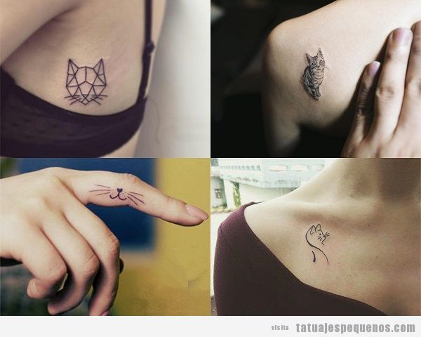 Tatuajes pequeños de gatos para mujer