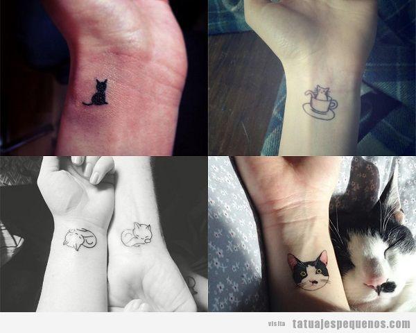 Tatuajes pequeños de gatos en la muñeca