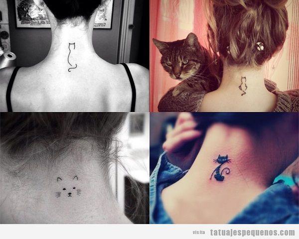 Tatuajes pequeños de gatos en la nuca