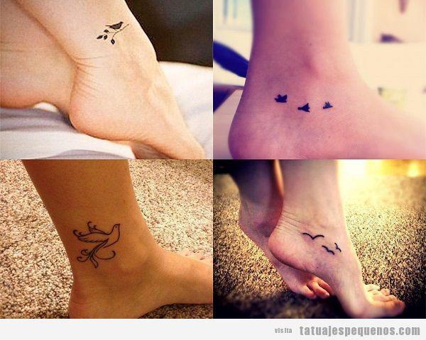 Tatuajes pequeños de pájaros en el tobillo y pie